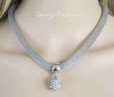 % SUPERIOR Collar Cadena con Partidario De Shambala Cristal Strass Plata -K17