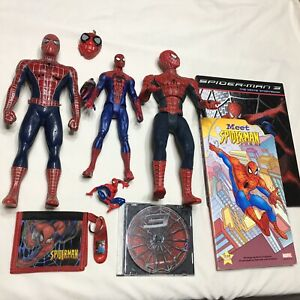 Spiderman-Action-Figures-Movie-Wallet-Books-Marvel-Lot-Of-9-Items