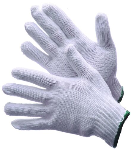 72 Pairs Bleached White Cotton String Knit Gloves (600G)- Size Large
