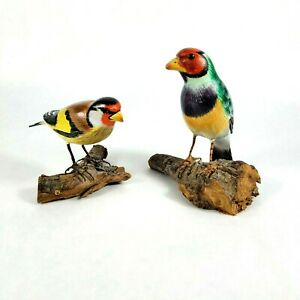 Hand Carved Wood Bird on Branch Hand Painted Unsigned Folk Art Birds Set of 2 Vi