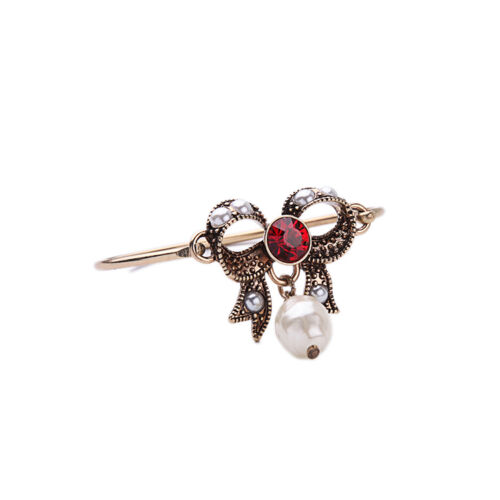 Bracelet Doré Rigide Ouvrable Noeud Papillon Bow Perle Goutte Rouge Retro CT 8