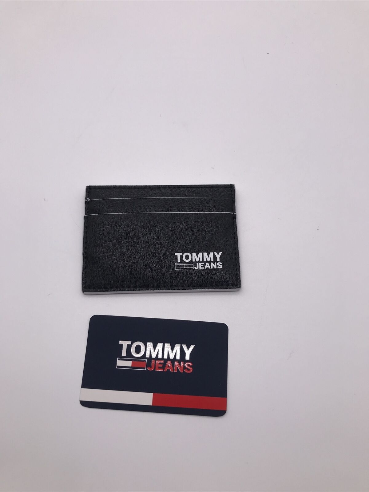 Tommy Hilfiger Jeans Mens Black Logo Recycled Leather Card Holder CC Holder New
