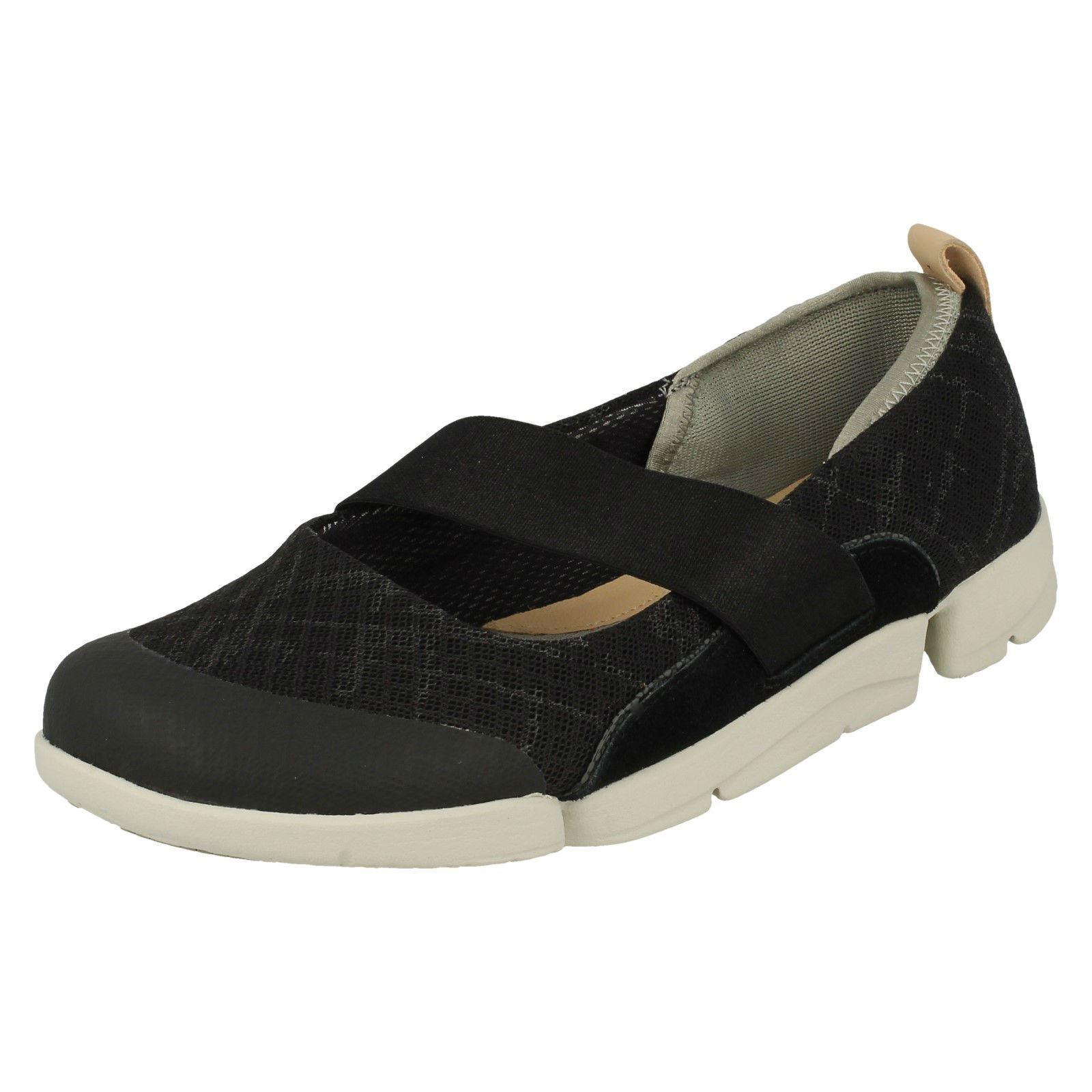 Clarks Drei Allie Damen Schwarz Kombi Sportlich Schuhe