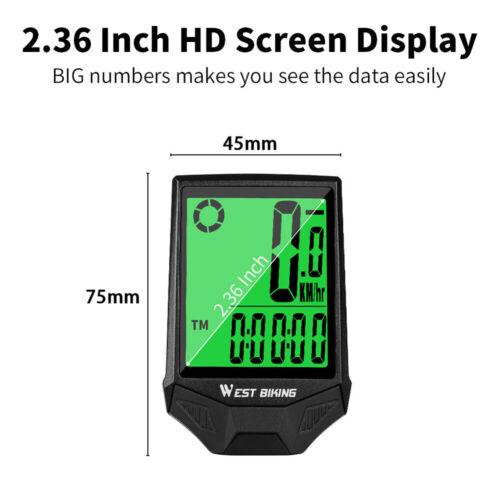 WEST BIKING Bike Computer Wireless Speedometer Odometer Waterproof LCD U5J6