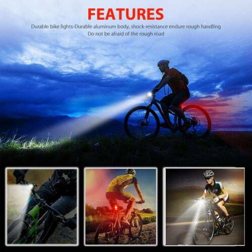 USB Rechargeable LED Bike Headlight Bicycle Head Light Front Rear Lamp Cycling