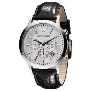 Emporio-Armani-Men-039-s-AR2432-Classic-Chronograph-Silver-dial-Black-Leather-Watch