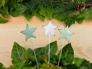 Sterne-3er-SET-Dekostecker-Weihnachtsstern-Advent-Weihnachtsdeko-Stern-basteln