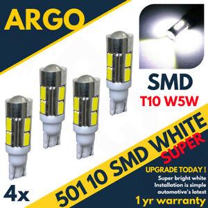 4-X-501-10-SMD-LED-XENON-SUPER-WHITE-BULBS-T10-W5W-168-DC-LIGHTS-TWIN
