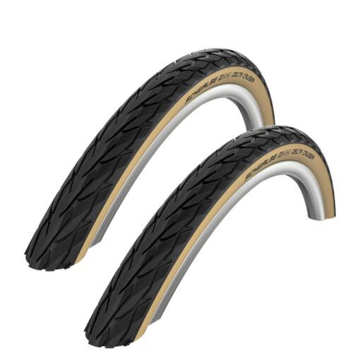26 x 1 3//8 Schwalbe Delta Cruiser Bike Tyre Bicycle Coat White Wall 37-590