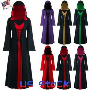Women-039-s-Gothic-Hooded-Dress-Color-Block-Robe-Long-Sleeve-Cosplay-Retro-Party-US
