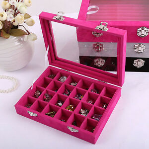 Glass Velvet Jewelry Tray Organizer Ring Display Holder Box Storage