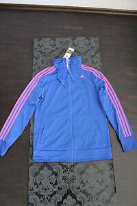 Consciente Ya Negar  Adidas Mujer Chaqueta Tamaño S, M Azul Con Color de Rosa Rayas Nuevo  Etiqueta | eBay