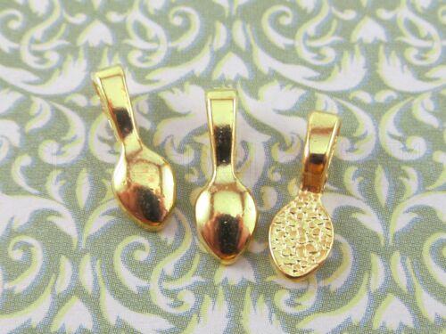 16x5mm 100 Teardrop Bails Scrabble Glass Pendants Glue On Gold Tone