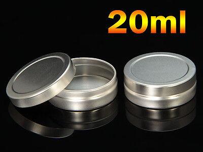 Empty Cosmetic Pots Lip Balm Container Jar Silver Aluminum Tins 10ml 20ml 25ml