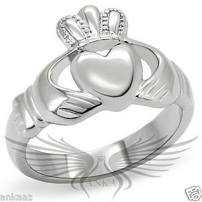 Women/'s Stainless Steel Classy Epoxy White No Stone Heart Theme Ring TK3172