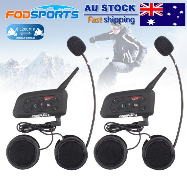 2x 1200M Motorcycle Intercom 6 Riders Communication BT Helmet Headset Bluetooth
