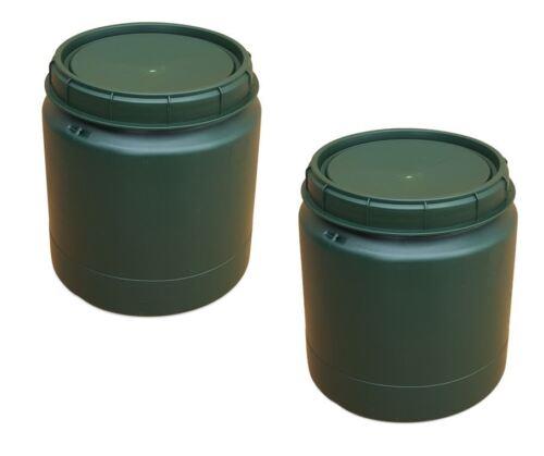 2 x 40 L grün Deckelfass Drehdeckel Kunststofftonne Vorratsfass Transportbox