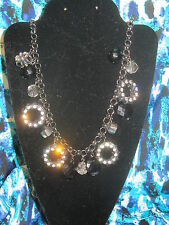 SIMPLY VERA WANG NWT $34 women's necklace black & clear stones party disco