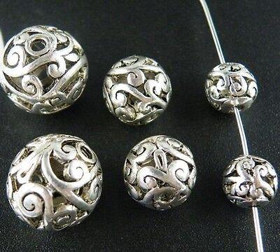 Tibetan Silver Hollow Flower Spacer Beads 35pcs 8mm/25pcs 11mm/15pcs 14mm