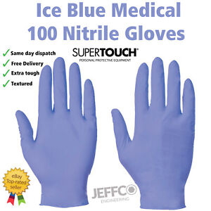 Supertouch Ice Blue Medical Nitrile Gloves Disposable Latex and Powder free