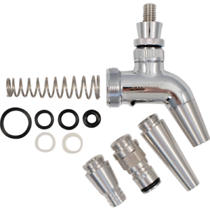 Intertap Faucet Kit Growler spring Spouts for Stout Ball lock Stainless