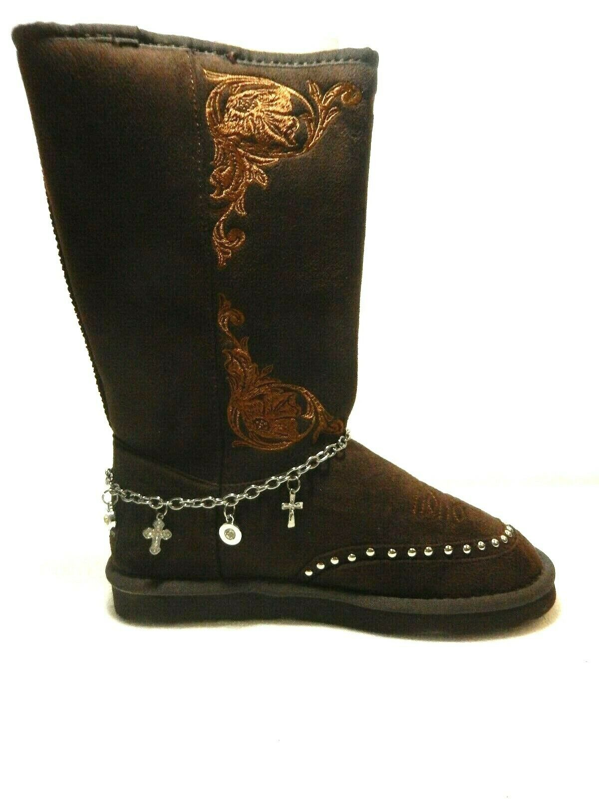 NIB   Montana West Collection Collection stivali BST -021 BR CROSS avvio CHAIN Sz 6  outlet in vendita