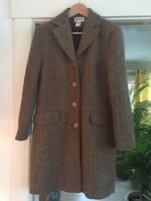 EUC Pendleton Brown Herringbone Wool Mohair Long Coat Womens Size 10 / MED