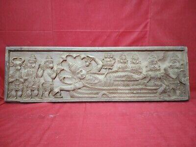 Hindu Vishnu Wall Panel Vintage Temple TeakWood Statue Ananthasayanam Sculpture