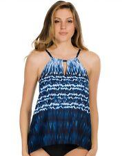 Miraclesuit~Blue Indigo-Go Keyhole Peephole high neck Tankini Swim Top~8~NWT$110