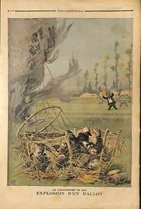 ACCIDENT MONTGOLFIERE Toulet Delvaux Scheers Dupuis Dusaulçoit 1895 ILLUSTRATION - France - Authenticité: Original - France