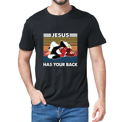 Brazilian Jiu Jitsu Wrestling Jesus Has Your Back Funny Vintage Men/'s T-Shirt