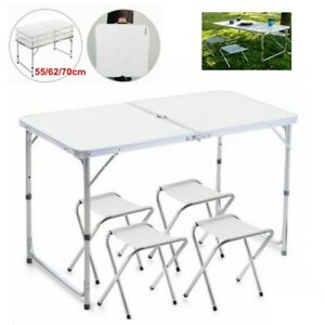 Alu Campingtisch Klapptisch Koffertisch Falttisch Gartentisch klappbar 4x Stuhl