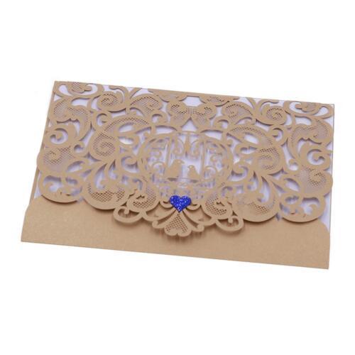 10PCS Hohlen Laser Cut Lace Party Abend Gefallen Hochzeitseinladungskarten