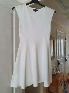 Topshop-White-Fit-amp-Flare-Dress-Sleeveless-Cotton-Blend-Summer-Size-12-VGC