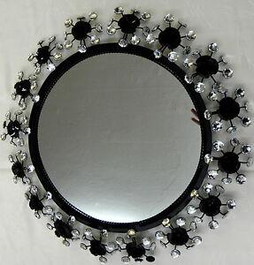 Wandspiegel 58 cm glamour luxus spiegel rund glitzernde128 steine neu schwarz ebay - Spiegel rund schwarz ...