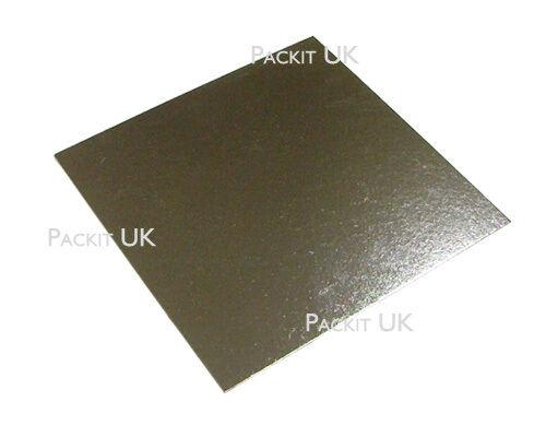 100 X 10  Pouces Carré Gateau Argent Board 3 mm Double épaisseur