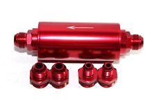 An6 An8 An10 High Flow 40 Micron Cleanable Ss Racing Inline Fuel Filter Red
