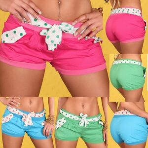 Sexy-Miss-Ladies-Trendy-Hot-Pants-Fabric-Girly-Shorty-Dots-Shorts-XS-S