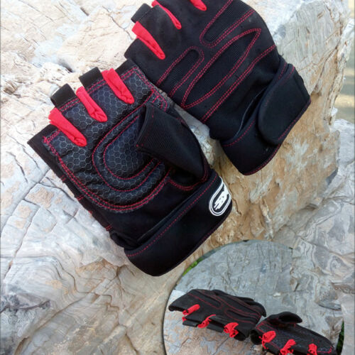Mens Pro Weight Lifting Gym Gloves Workout Wrist Wrap Exercise Training Fitness