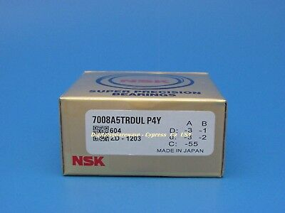 Set of Two NSK 7203CTRDULP4Y Abec-7 Super Precision Spindle Bearings.