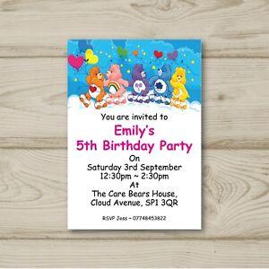 care bears children birthday party invitations personalised ebay