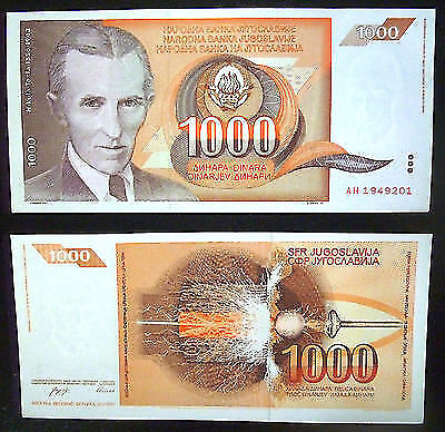 SERBIA Nikola Tesla 1000 dinars banknote UNC year 26.XI.1990