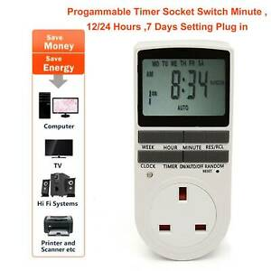 Electronic-Digital-Timer-12-24-Hour-Switch-7-Day-Socket-UK-Plug-in-Programmable