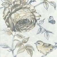4 Servietten - Blume - Vogel - Schmetterling