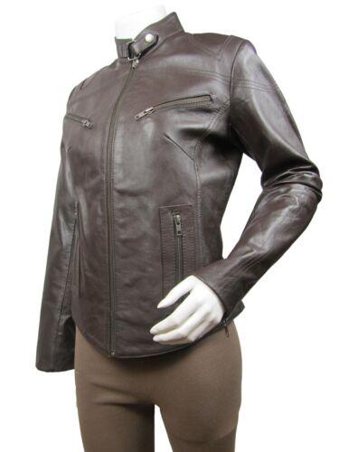 Biker Short Brown Ladies Bike Napa Slim Jacket Tight Leather Fitted xaqYq70w