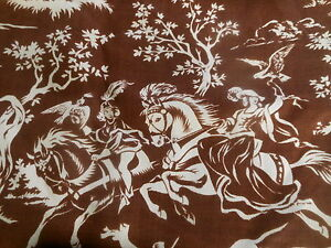 Vintage-French-Brown-Knight-Lady-Horse-Dogs-Falcon-Bird-Hunt-Fabric