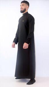 Mens-Designer-034-The-Man-034-Jubba-Slim-Fit-Premium-Black-Cuff-Jubbah-Thobe