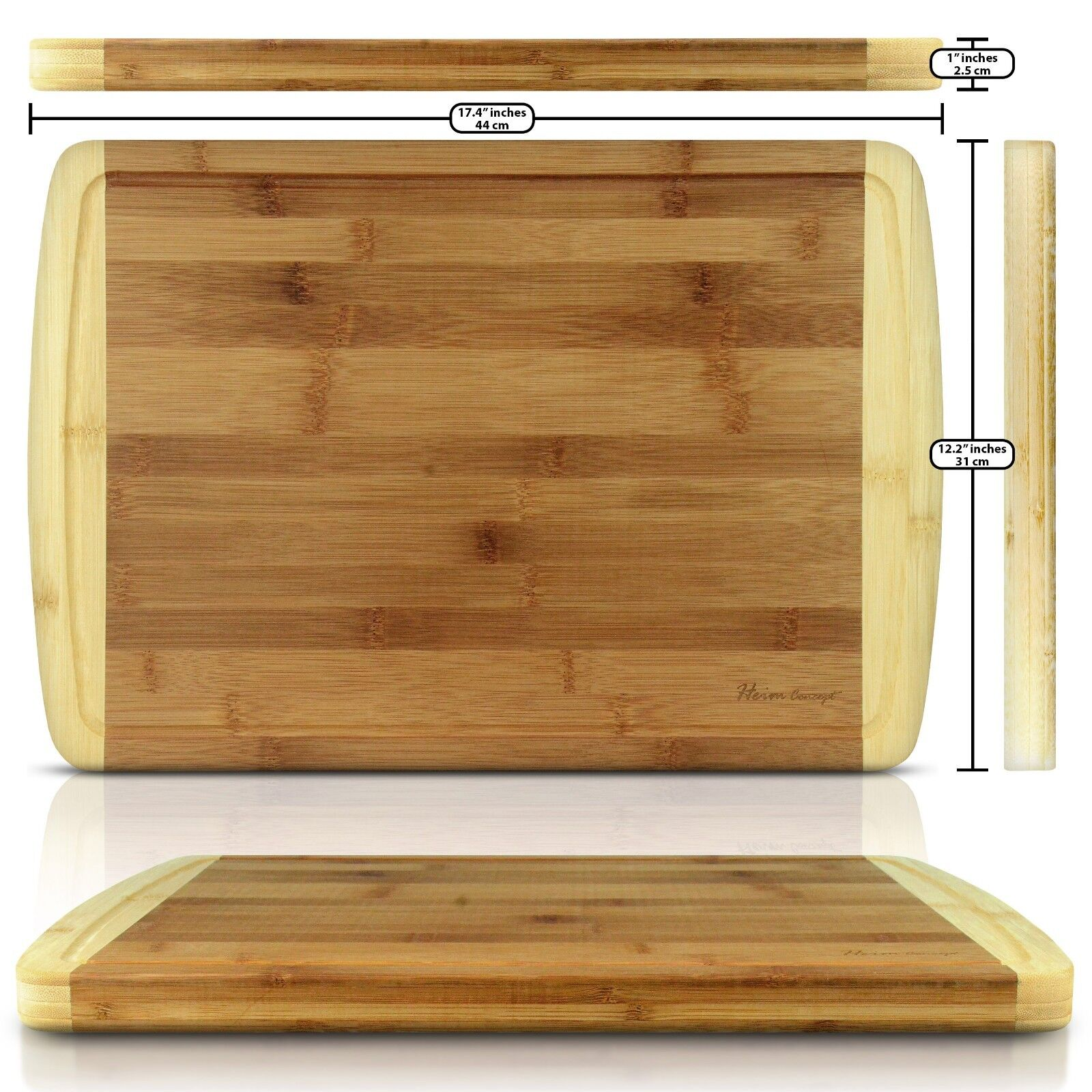 heim 39 s organic bamboo wood large cutting board kitchen chopping block end groove ebay. Black Bedroom Furniture Sets. Home Design Ideas