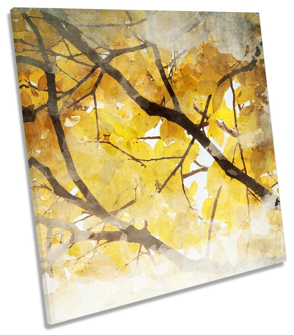 Autumn Gelb Floral Tree CANVAS WALL ARTWORK Square Art Print