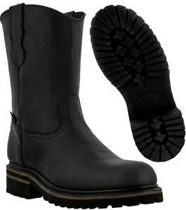 Mens Black Leather Tough Durable
